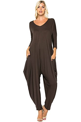 a4484f62515 Annabelle Women s Long Sleeve Comfy Harem Jumpsuits Romper With Pockets