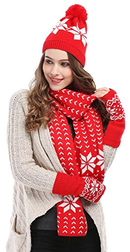 4fb8f33a00b1a Bienvenu Women Lady Winter Warm Knitted Snowflake Hat Gloves and Scarf  Winter Set