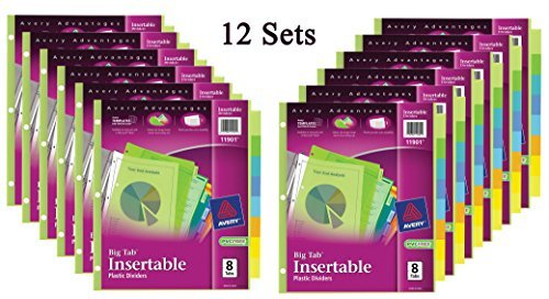 Avery Big Tab Insertable Plastic Dividers, 8-Tabs, 12 Sets – Pmelax