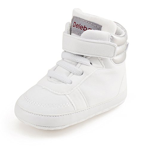 Delebao Infant Toddler Baby Lace up Soft Sole High-top Suede Warm Sneakers  Snow Boots 6-12 Months, White