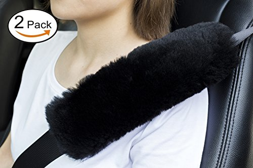 Andalus Authentic Sheepskin Car Seat Belt Cover 2 Pack, Gray
